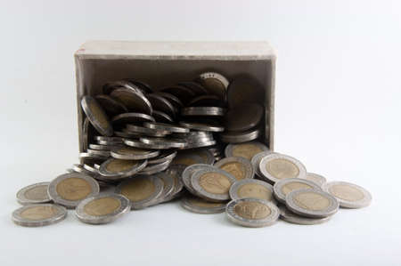 Thai coins in box and on ground on white background photo