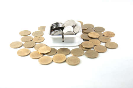 Coin stack isolated on white background photo