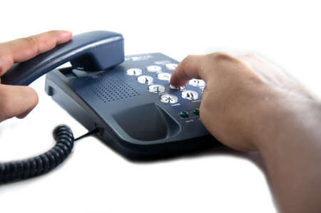 press button: hand press button call communicate Stock Photo
