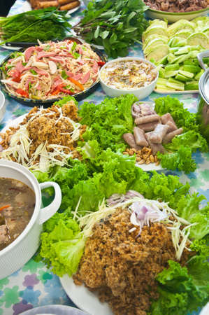 buffet variety of thai food photo