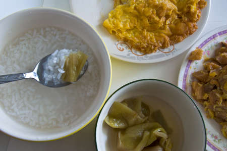 soft-boiled rice Thai food set meal time Stock Photo - 13165831
