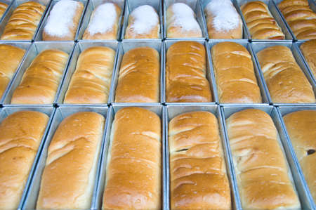 bread bakery food factory production with fresh products Stock Photo