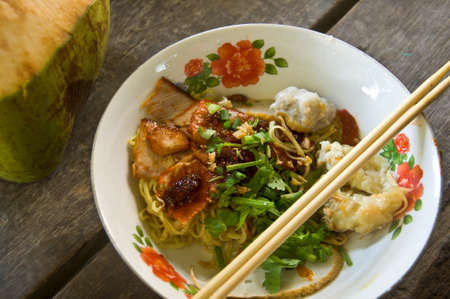 Asian style noodle with roasted red pork photo