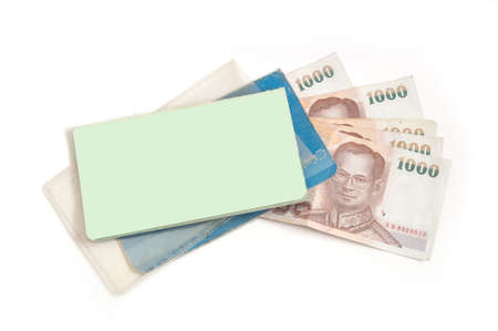 Thailand passbook and Thai money for saving photo