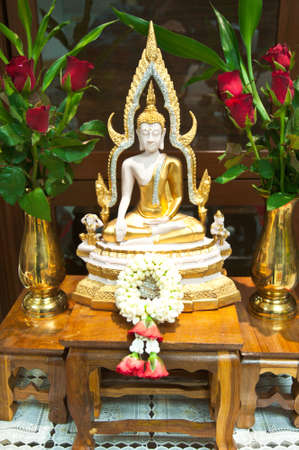 Buddhas and garland, the symbol of faith and peaceful photo