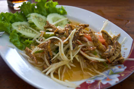 thai papaya salad hot and spicy mixed from variety of vegetable closeup photo