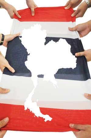 泰國地圖中旗隨身攜帶,它象徵和諧 版權商用圖片