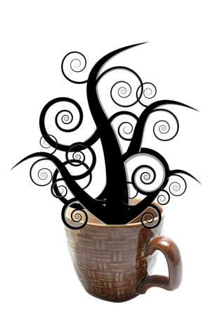 fantasize: wooden pattern cup isolated black tree fantasize Stock Photo