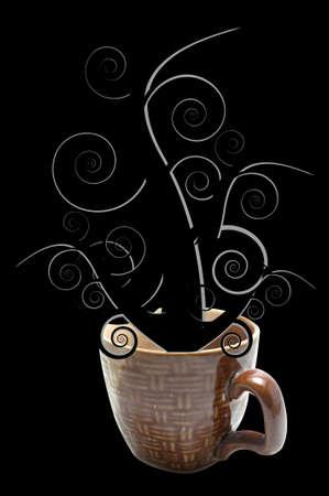 fantasize: wooden pattern cup  black tree fantasize on black background