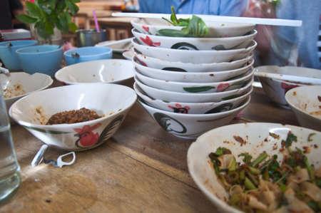namtok: bowl of thai style pork noodle soup  nam-tok  thailand