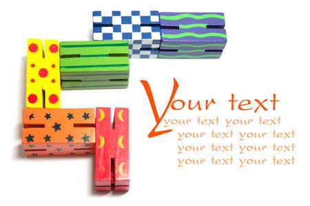 Toy wooden colourful blocks on white Stock Photo - 13680029