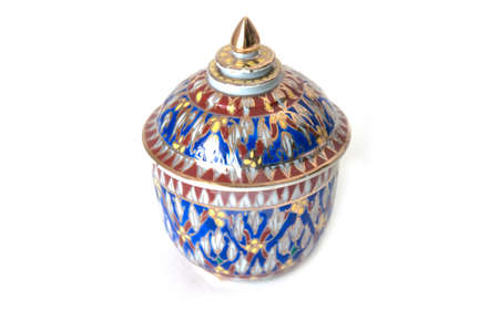The Benjarong  Bencharong  , Ceramic jars with intricate designed from thailand Stock Photo - 13846064
