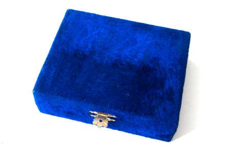 velvet blue gift box on white photo