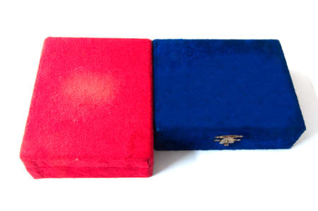 velvet red and blue gift box on white photo