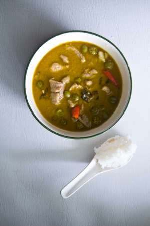 Green chicken curry a popular of Thai food photo