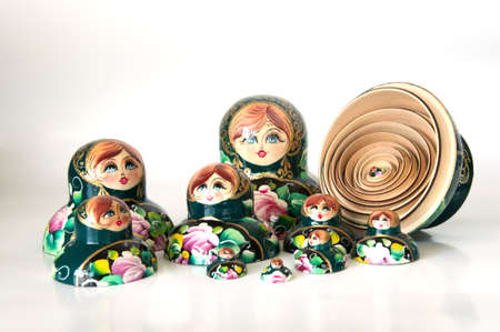 nested: Family of Russian nested dolls isolated on white