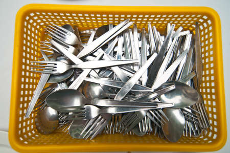 spoon and fork silver in basket photo