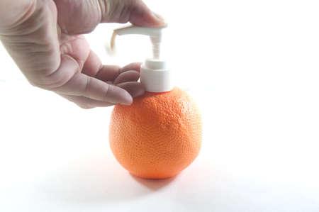 pressing the liquid soap to  hand Stock Photo - 14481897