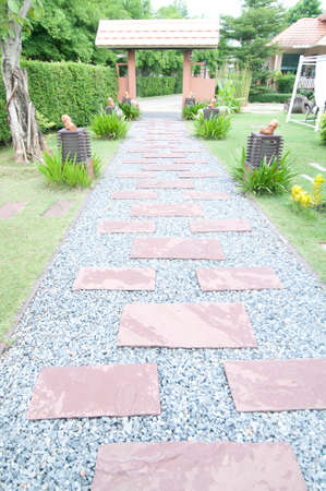Stone pathway pass through a garden photo