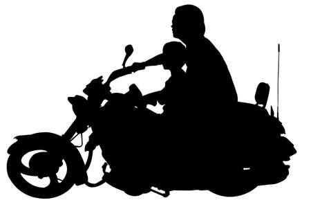 siluet:  drawing Motorcycle rider