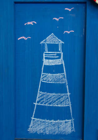 draw Lighthouse in wood blue photo