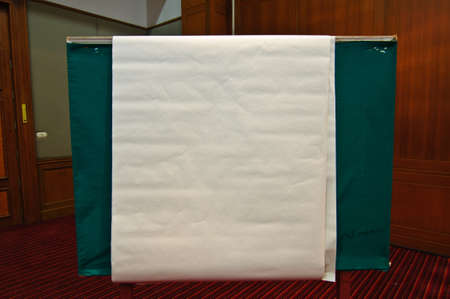 blank flip chart inside a meeting room Stock Photo