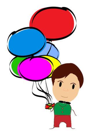 cartoon holding many balloons for gift Stock Vector - 19052868