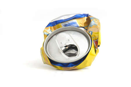 Used aluminum can on white background. photo