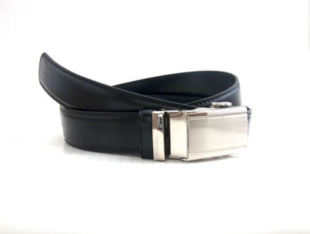 Men leather belt on white background photo