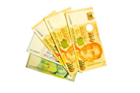 singapore dollars  on white blackground Imagens