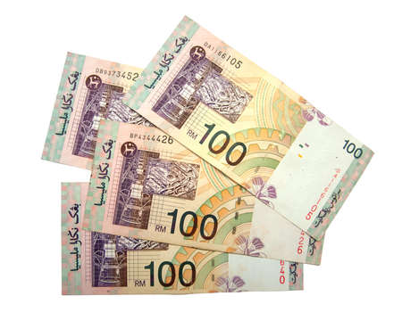 malaysian ringgit RM100 on white