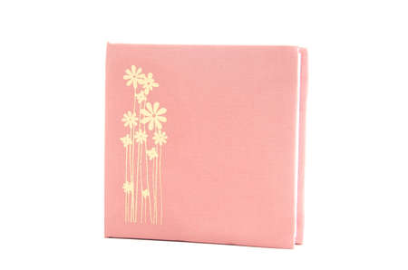 silk pink color cover note book isolated on white background photo