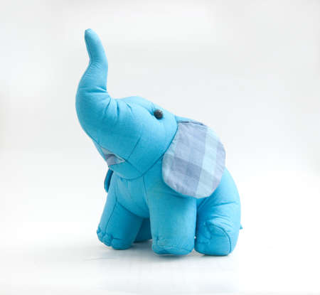 soft toy: blue elephant toy on white Stock Photo