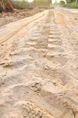 Off road 4X4 wheel tracks on country desert beach road sand motoring photo