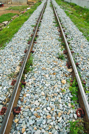 railway tracks in a rural scene photo