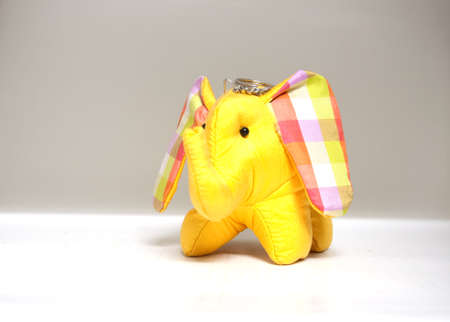 silk yellow elephant toy, key ring photo