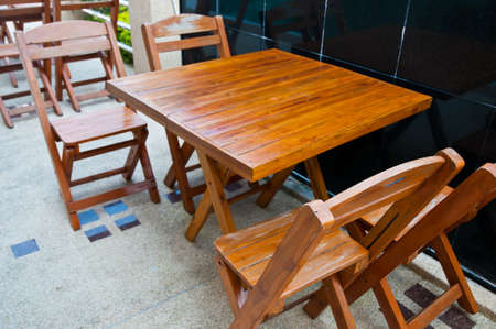 Wooden dining tables outdoor photo