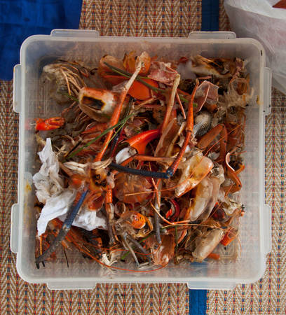 composting: food scraps for composting - seafood Stock Photo