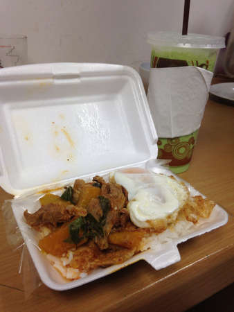 take out: foam take out container thai food
