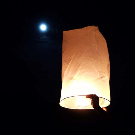 hope: North of Thailand Happy newyear christmas balloon yeepeng traditional at night