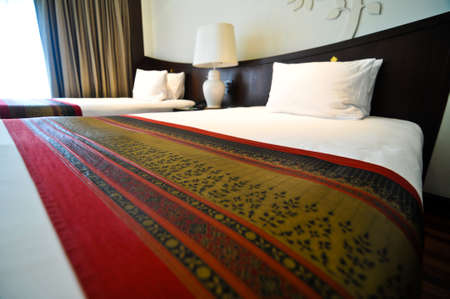 interior of hotel room - two bed room Thai style 新聞圖片
