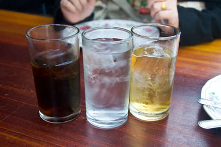 soft drinks: water and soft drinks in glass