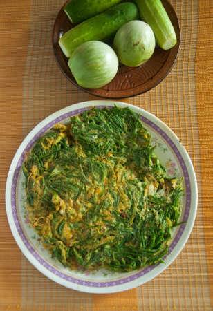 cha-om kai, Acacia Pennata, Omelet Thai Style photo
