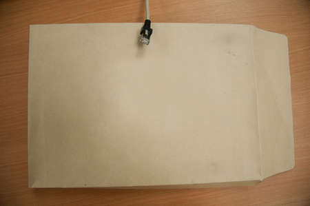 old envelope: Close Old brown document envelope Stock Photo