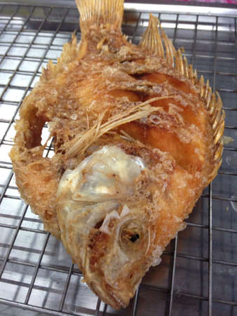 mango fish: Deep fried Mango fish in market Stock Photo