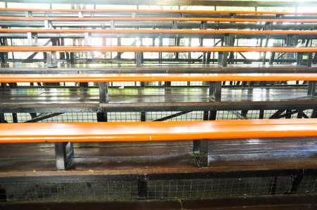 bleachers: metallic bleachers in  stadium