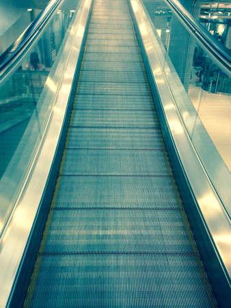 steel: The steel automatic escalators Stock Photo