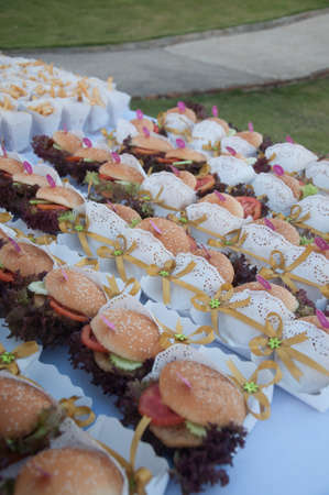 hamburger appetizer for the wedding party or business meeting photo