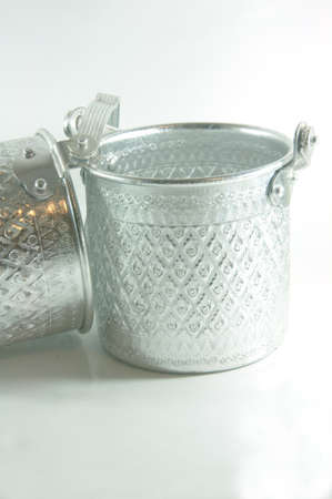silver Metal Tiffin, Food Container On White Background photo