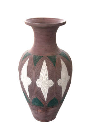 vintage  vase with carved ornament (Thai Earthenware) photo
